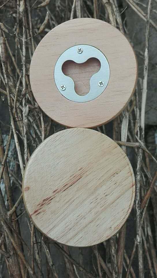Round Wood Bottle Opener 1613859 2