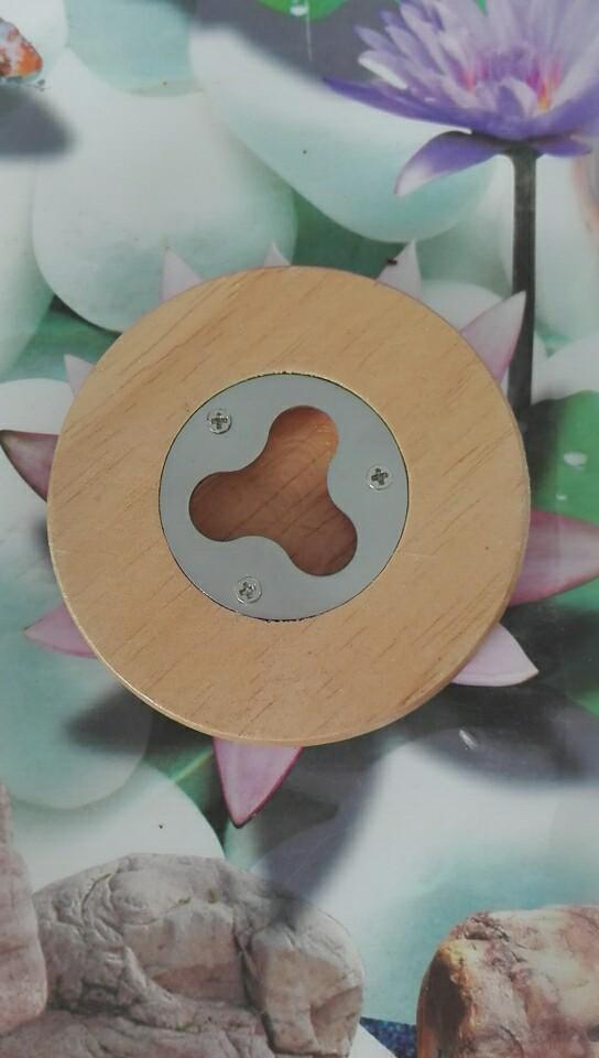Round Wood Bottle Opener Magnetic Round Wood Coaster Bottle Opener 5