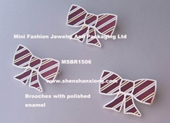 Brooch with polished ena