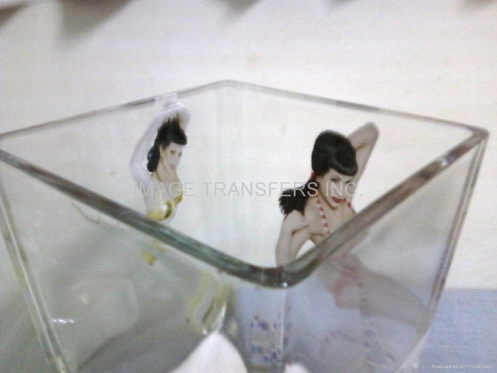 water-slide decal paper transfer two way view glass crystal surface  1