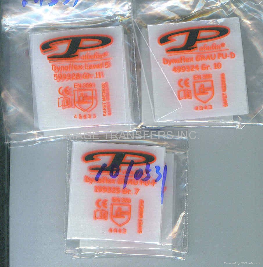 Industrial WORK glove tag-less label heat transfer sticker 3
