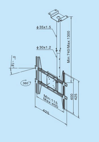 LP6902 Flat TV hanger/LCD&PLASMA TV CEILING MOUNT 2
