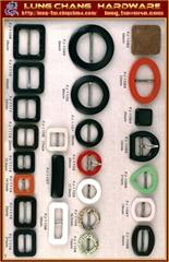 Plastic fasteners, badges, buckles