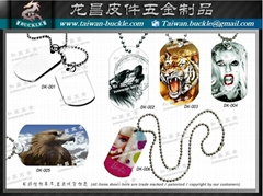Made in Taiwan Print Jewelry dog tag Necklace Zinc Alloy