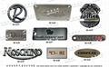 Leather hardware. Leather accessories trademark nameplate. Brand parts