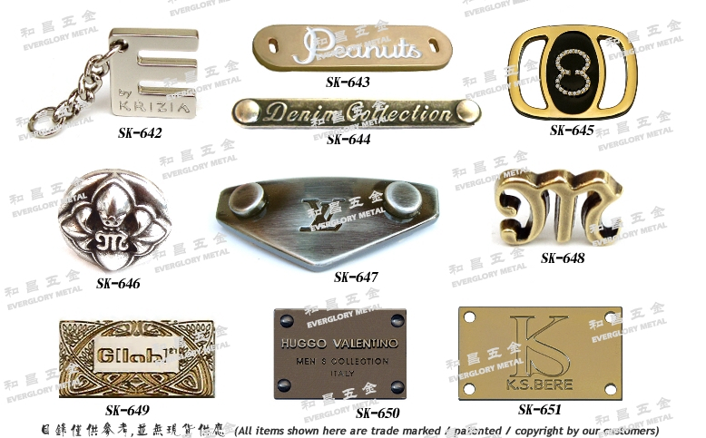 Leather handbags hardware accessories trademark nameplate brand parts