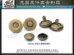 12X2mm 夾尾式 雙撞釘磁扣