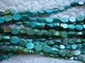 Turquoise flat oval beads(YD033)