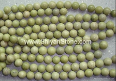 Natural yellow round stone beads(YD027)