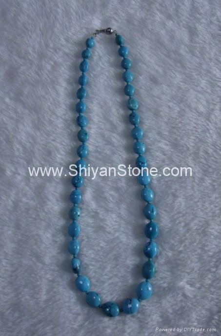 Turquoise oval beads necklace (YD308) 1