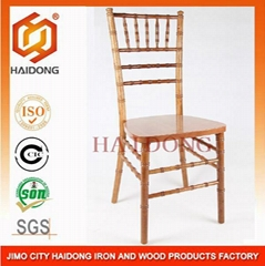 原木色美式實木竹節椅