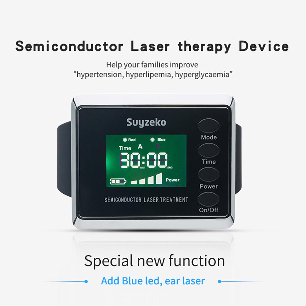 semiconductor therapeutic laser acupuncture wrist watch blue/red light therapy
