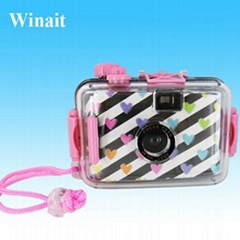 Ultra compact 35mm mini digital cameras with clear plastic waterproof casing