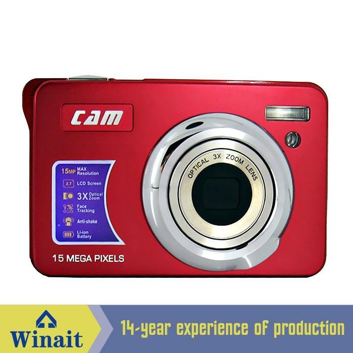 15mp digital camera with 2.7'' TFTdisplay 4x digital zoom 3 x optical zoom  12