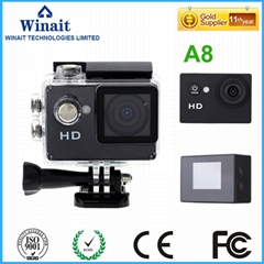 winait waterproof sport camera with120° Wide-Angle Lens A8