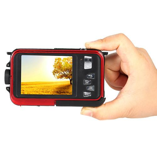 24mp waterproof digital camera with dual display