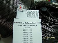 Niobium wire, Niobium thread, Niobium filament, Niobium coil, Niobium rod