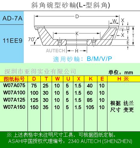 日本旭钻石原厂◆金刚石外周直角碗型砂轮