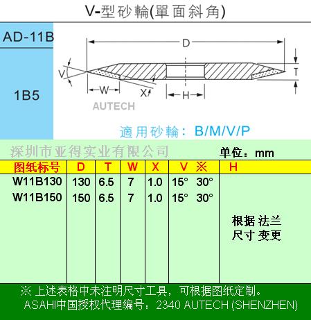 日本旭钻石▲太阳牌合资◆V型单面直角砂轮