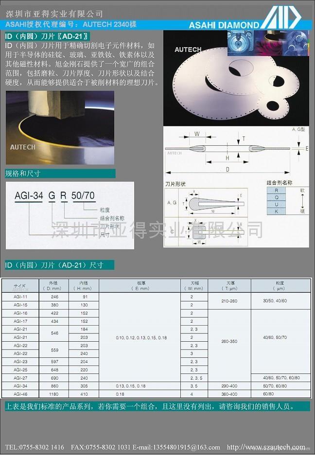 太陽牌內圓切割刀片Asahi ID Blade 2