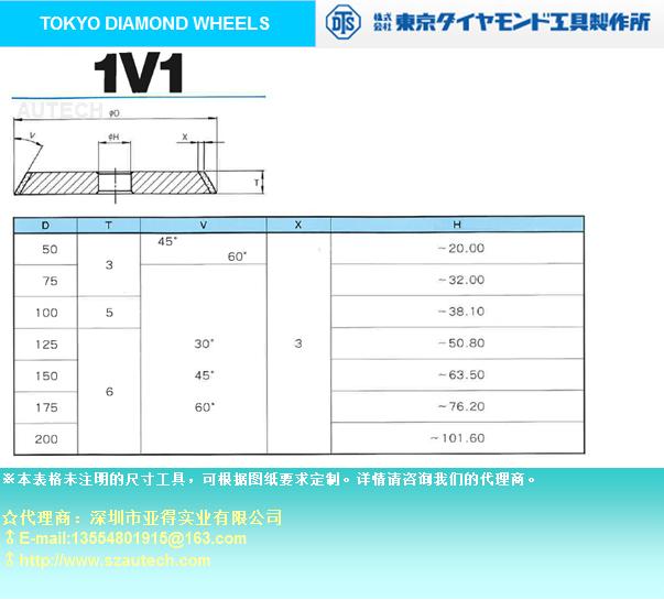 TOKYO DIAMOND WHEELS★DTS 1V1 砂轮