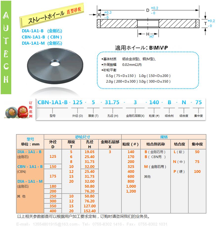 日本原厂1A1树脂结合剂金刚石砂轮SUN RESIN BOND DIAMOND WHEELS