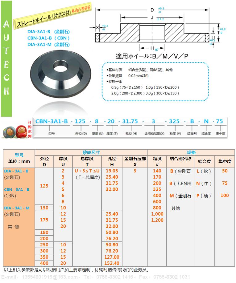 日本原厂3A1树脂结合剂金刚石砂轮SUN RESIN BOND DIAMOND WHEELS