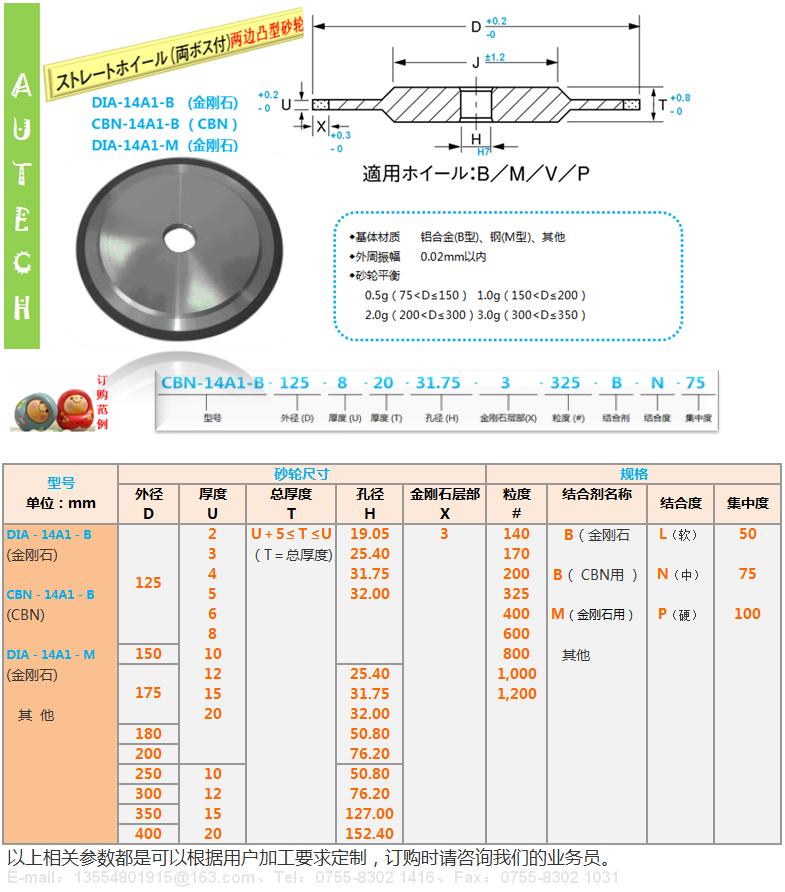 日本原厂14A1树脂结合剂金刚石砂轮SUN RESIN BOND DIAMOND WHEELS