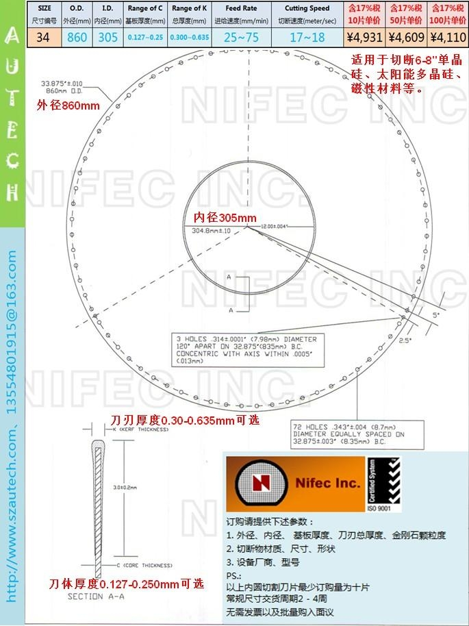 Nifec34inch860*305mmI.D. BLADE 2
