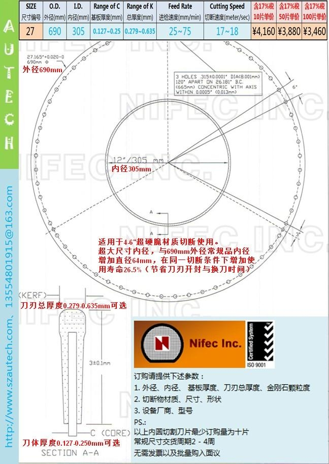 美国Nifec公司27英寸690*305mm内圆切割刀片 2
