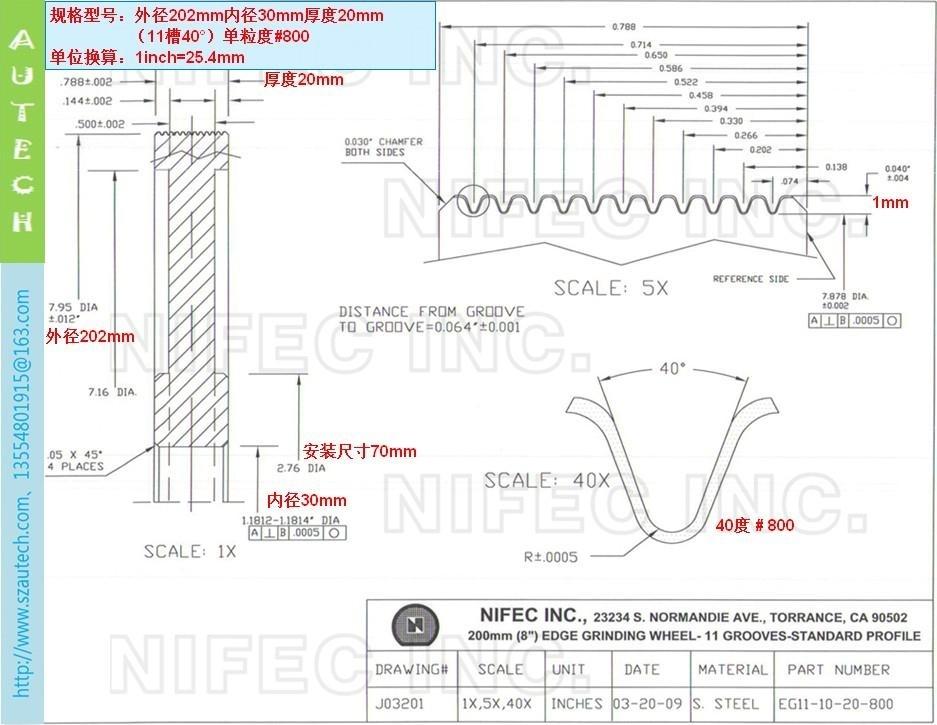 美国Nifec公司202mmO.D.双粒度金属结合剂倒角砂轮