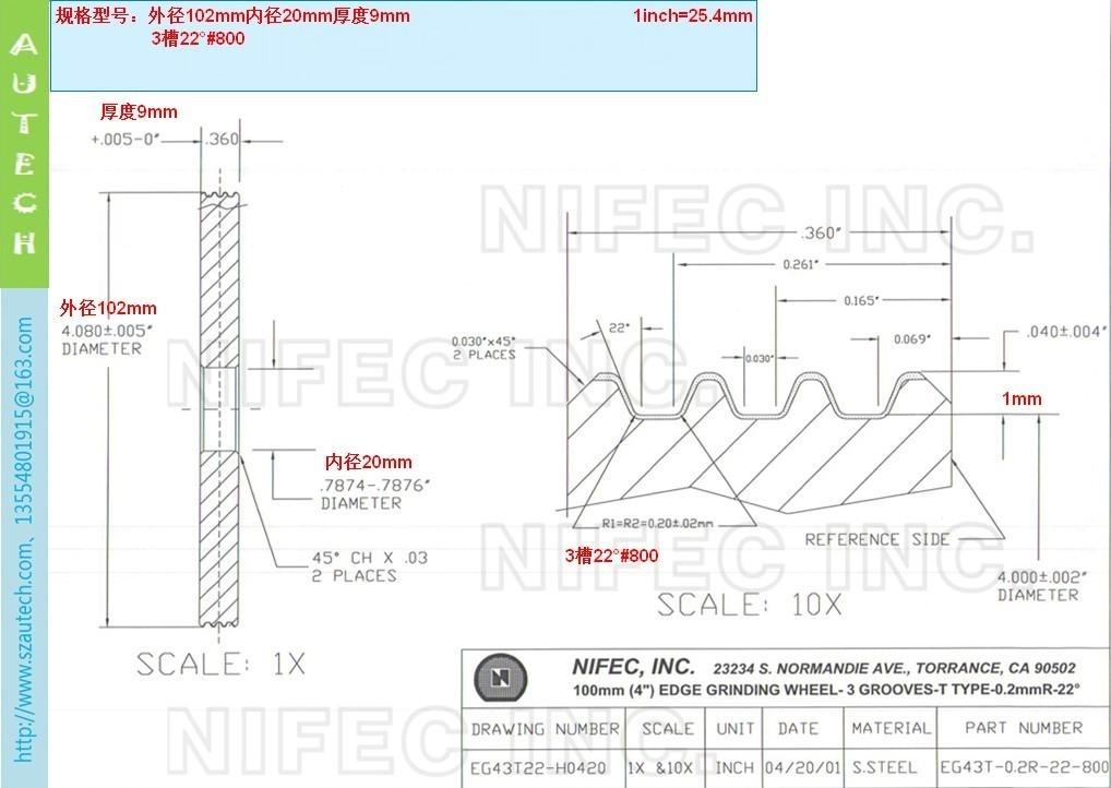美国Nifec公司202mmO.D.单V槽大口径倒角砂轮