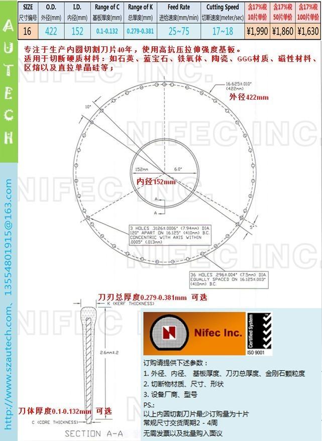美国Nifec公司16英寸422*152mm内圆切割刀片   2