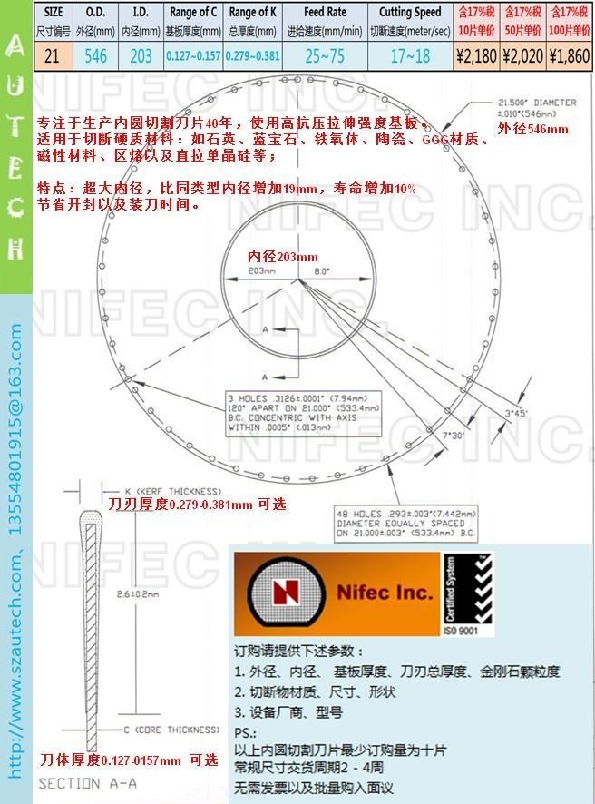 美国Nifec公司21英寸546*203mm内圆切割刀片 2