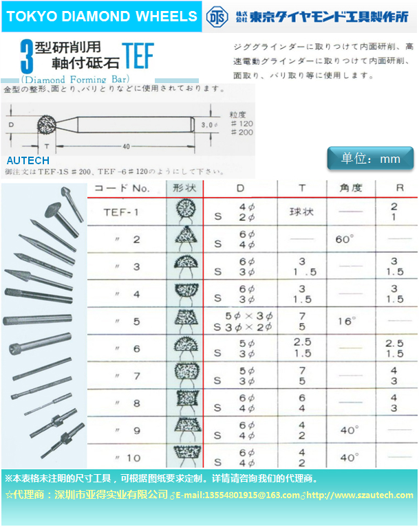 日本东京钻石工具制作所磨头DTS DIAMOND WHEEL 1