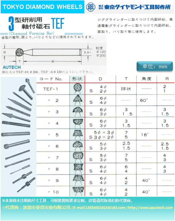 日本東京鑽石工具製作所磨頭DTS DIAMOND WHEEL 1