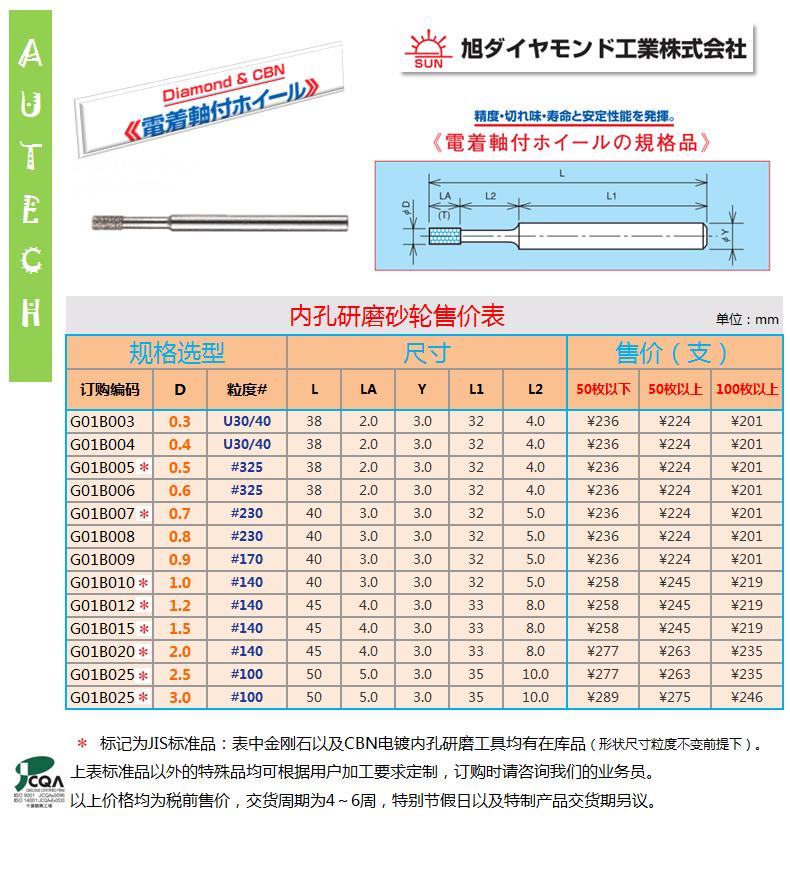 旭ダイヤモンド工業株式會社 日本 ダイヤモンド及CBN電着軸付ホイール