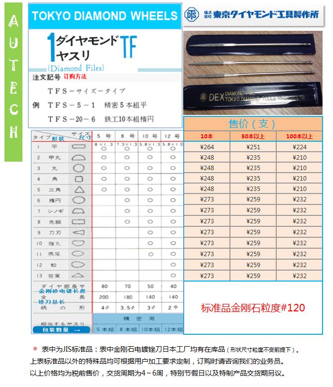 日本东京金刚石工具制作所  金刚石电镀锉刀修整工具