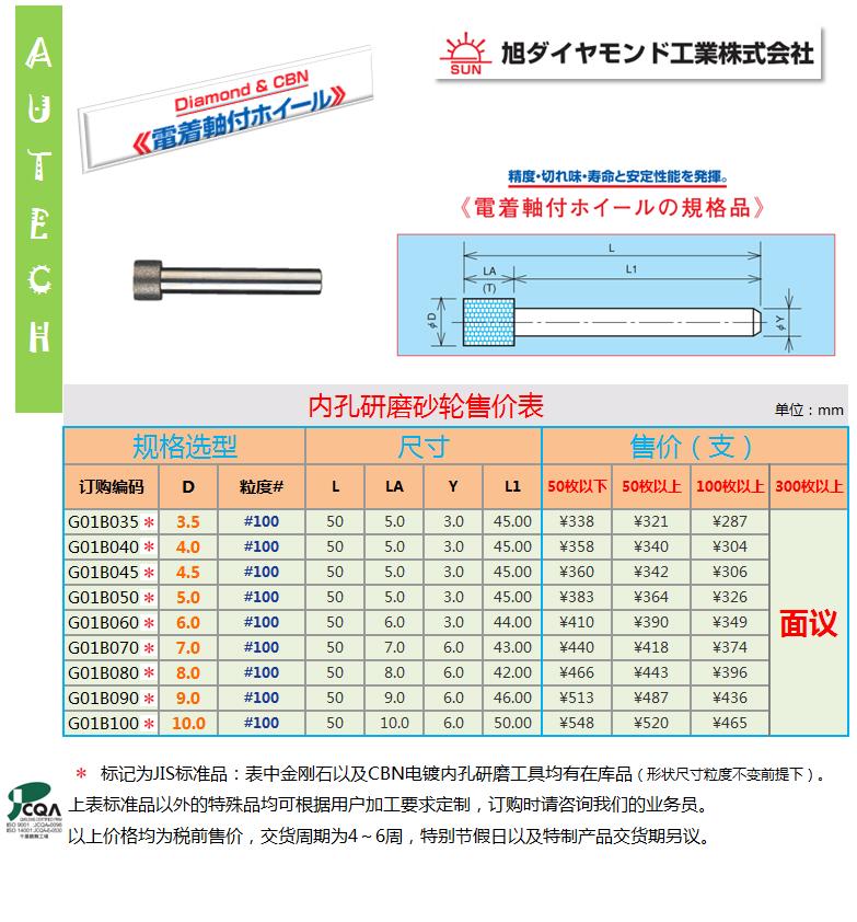 日本旭金剛石工業株式會社 CBN & 金剛石電鍍內孔研磨鑽頭
