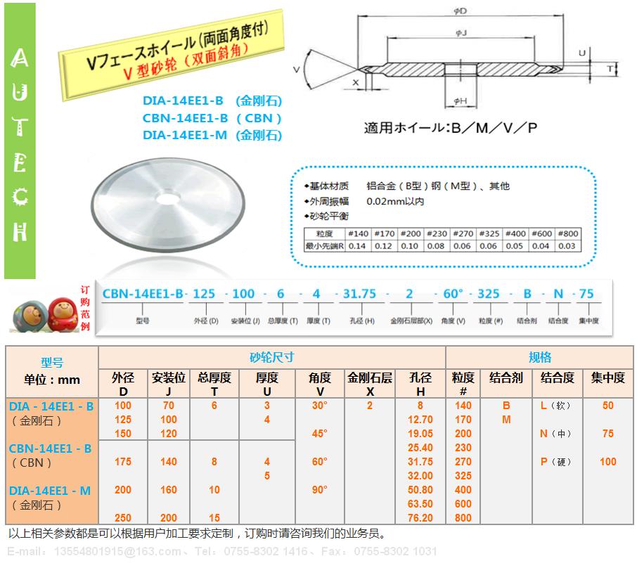 日本原廠14EE1樹脂結合劑金剛石砂輪SUN RESIN BOND DIAMOND WHEELS