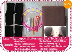 Hair Wigs Lace/Mono+Ventilating Needle 19pc DIY toolset