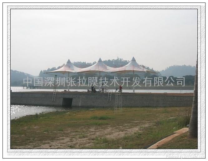 湖邊觀景台膜結構 1