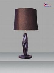 鋼材布藝實木臺燈