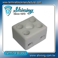 TC-152-A 2 Pole 600V 15A Heat Resistant Ceramic Terminal Block