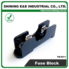 FB-6011 DIN Rail Mounted 600V 15A 6x30 Glass Ferrule Fuse Box