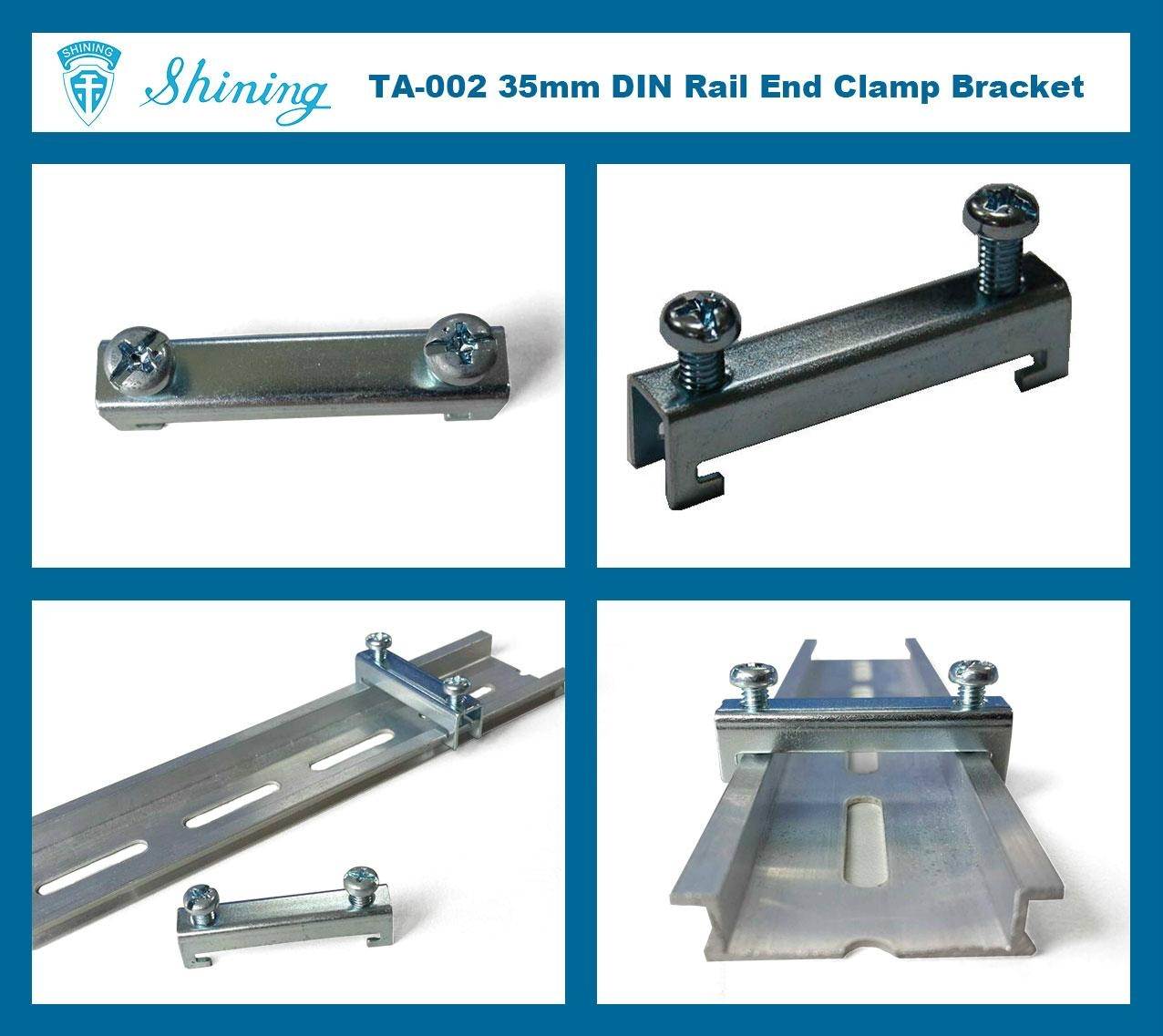 TA-002 35mm Hat-Shaped DIN Rail Mounted Steel End Clamp Bracket 8