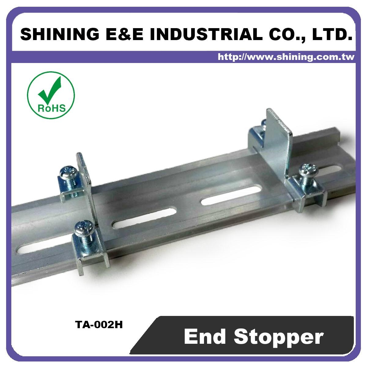 TA-002H Hat-Shaped 35mm DIN Rail Mounted Steel End Stop 5