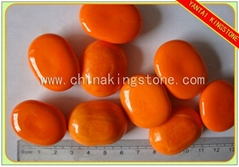 Orange garden glass pebbles landscaping decoration