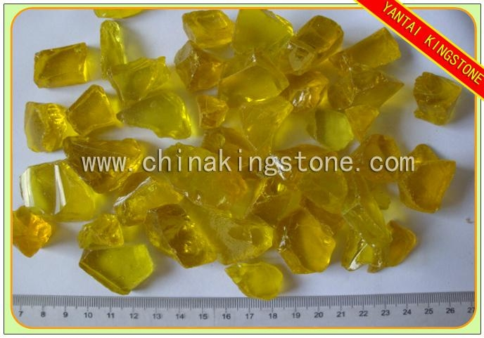 Transparent yellow frosted glass chips for landscaping 1