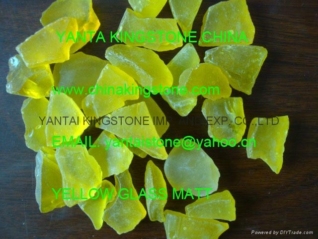 Transparent yellow frosted glass chips for landscaping 8